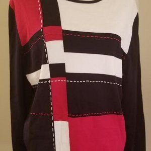 Alfred Dunner Knit Long Sleeve Black Pink Size L